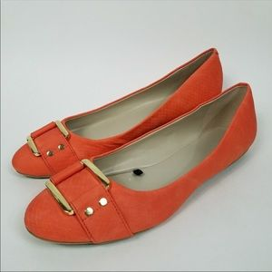 Banana Republic orange flats, gold buckle